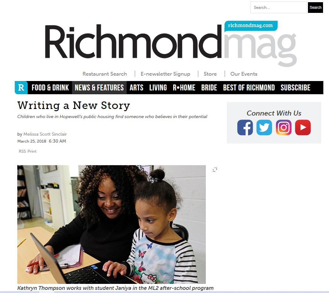 Kathryn Thompson write up in the Richmond mag